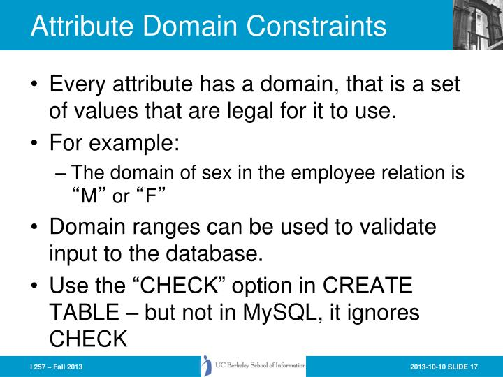 Attribute Domain Constraints