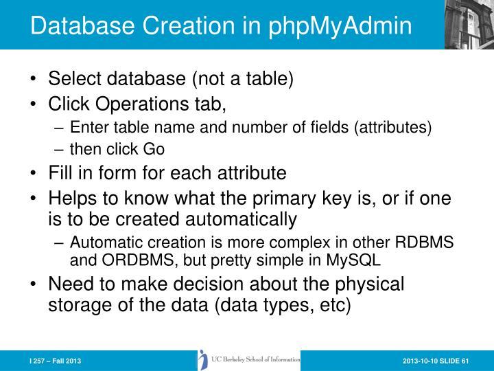 Database Creation in phpMyAdmin