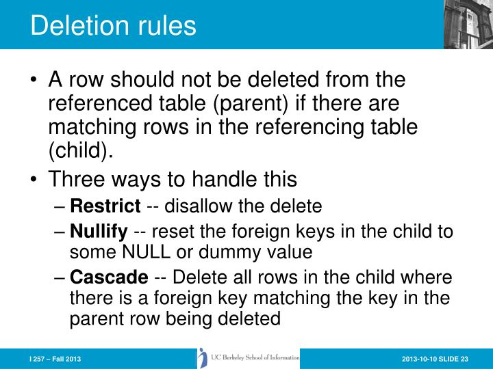 Deletion rules