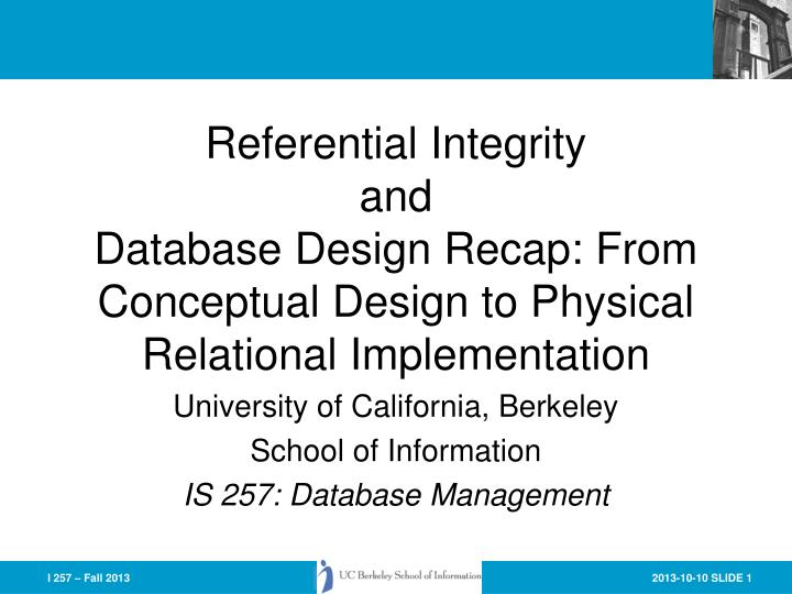 Referential Integrity