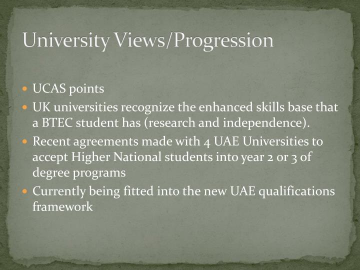 University Views/Progression