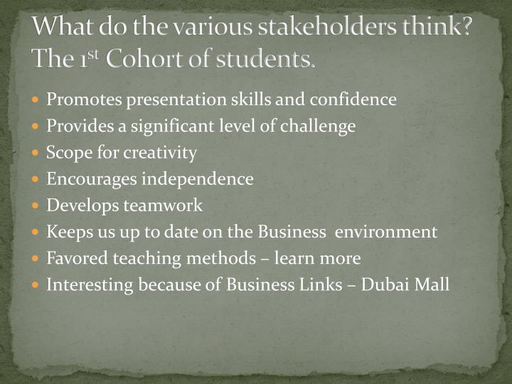 What do the various stakeholders think?  The 1