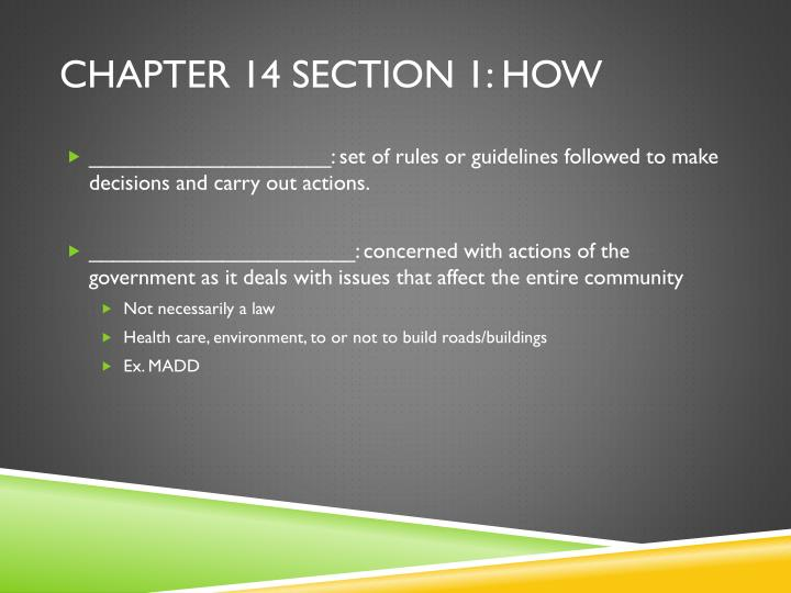 Chapter 14 section 1: How