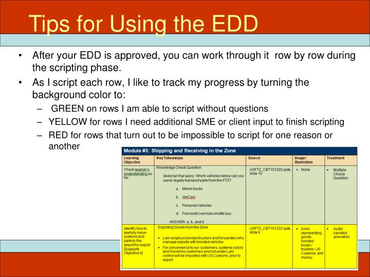 Tips for Using the EDD