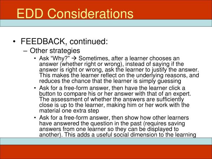 EDD Considerations