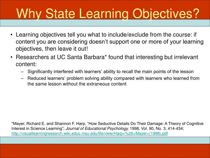 Why State Learning Objectives?