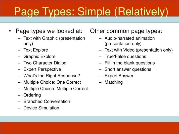 Page Types: Simple