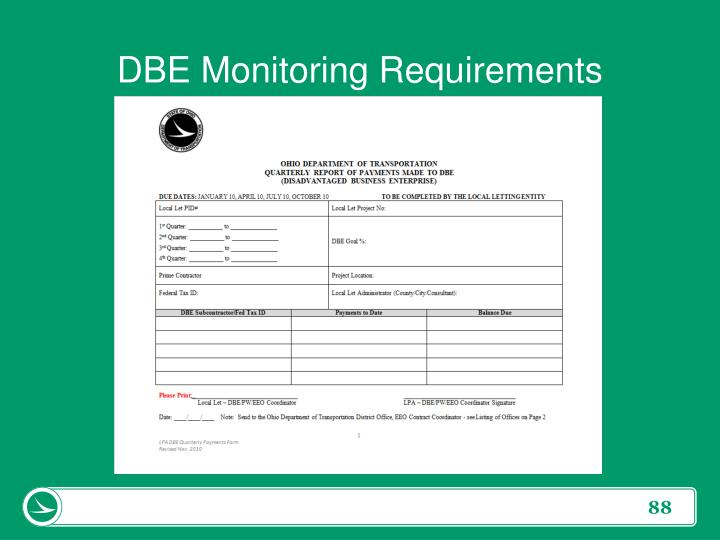 DBE Monitoring Requirements