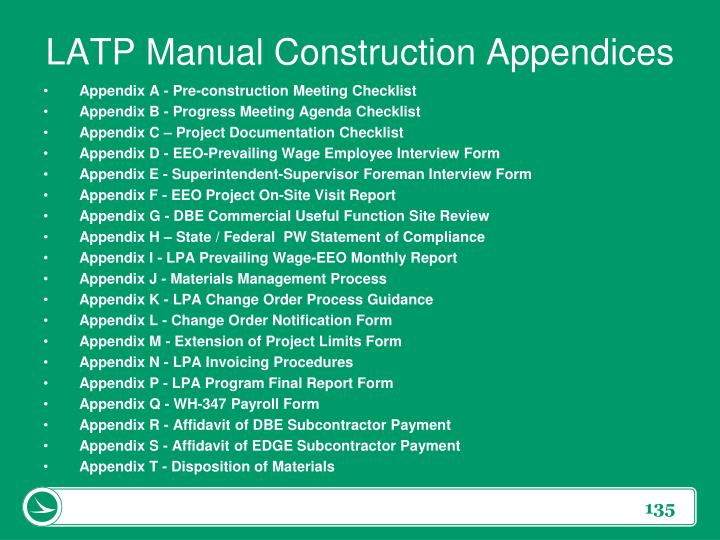LATP Manual Construction Appendices