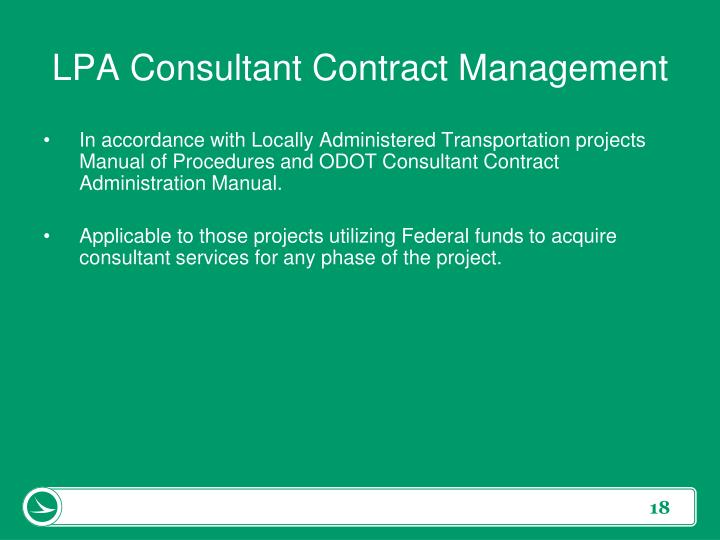LPA Consultant Contract Management