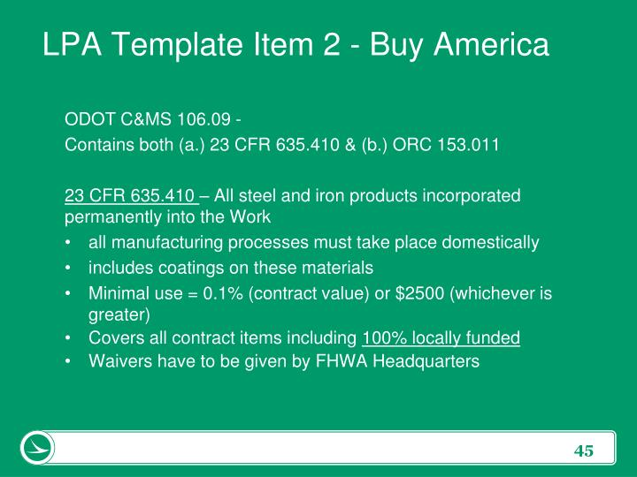 LPA Template Item 2 - Buy America