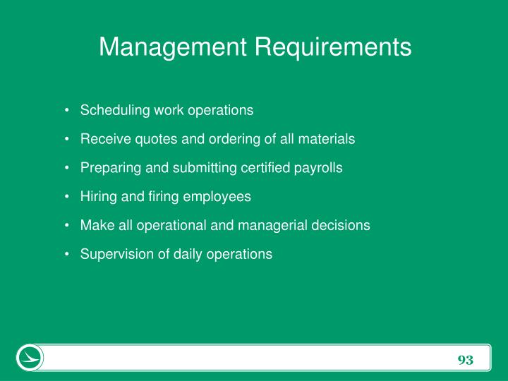 Management Requirements