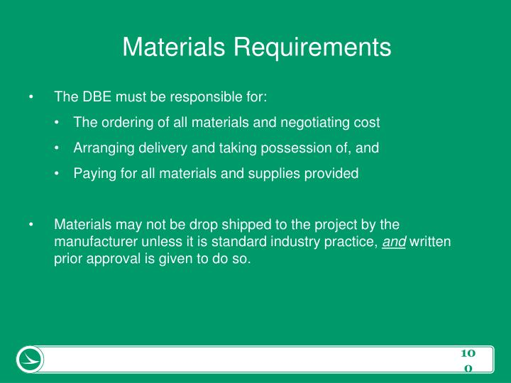 Materials Requirements