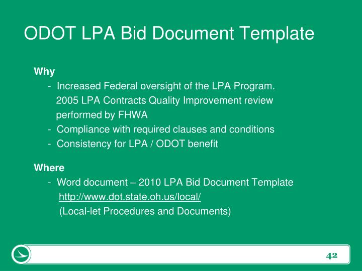 ODOT LPA Bid Document Template