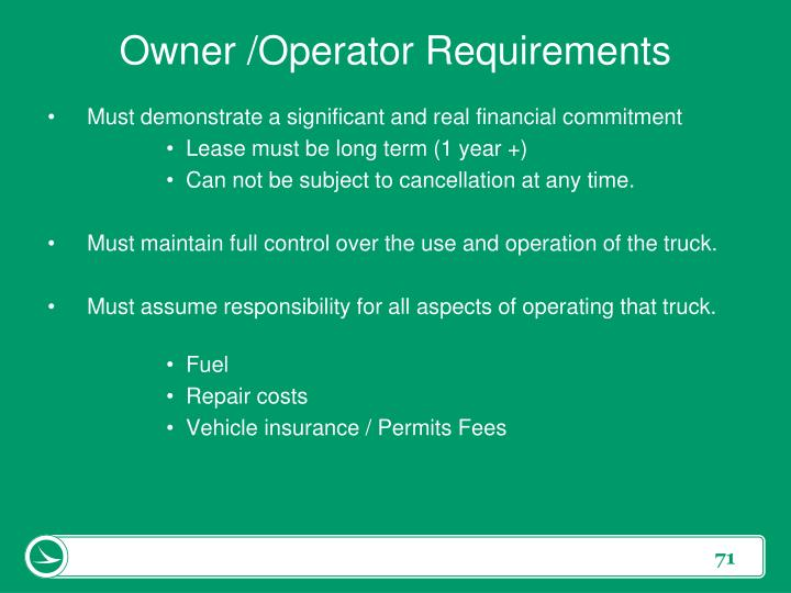 Owner /Operator Requirements