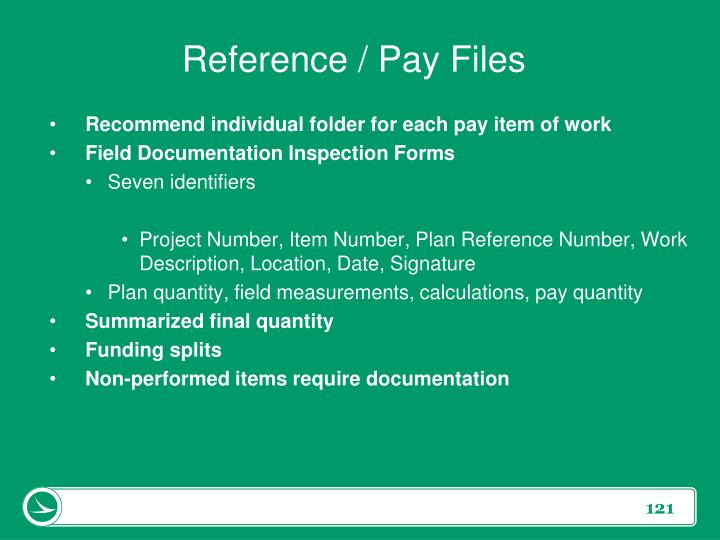 Reference / Pay Files