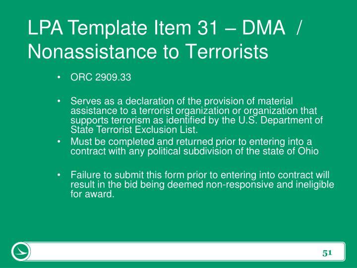 LPA Template Item 31 –