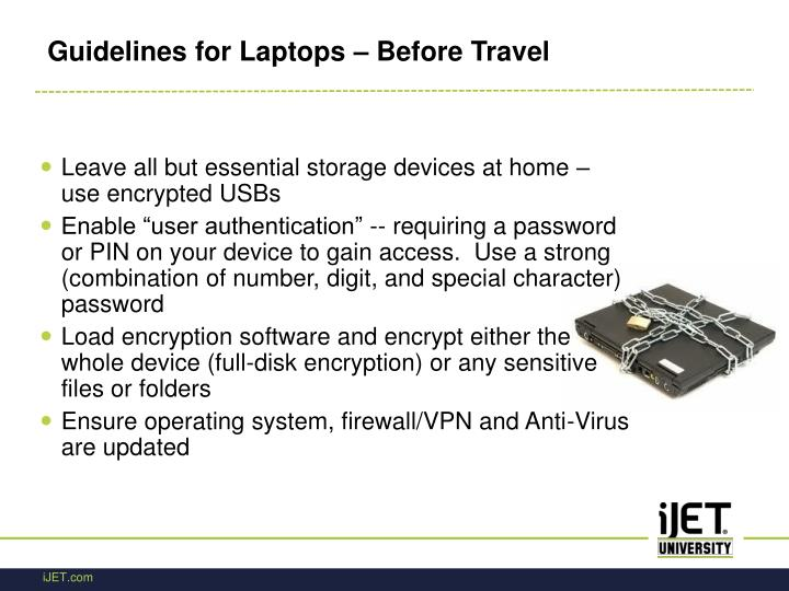 Guidelines for Laptops – Before Travel