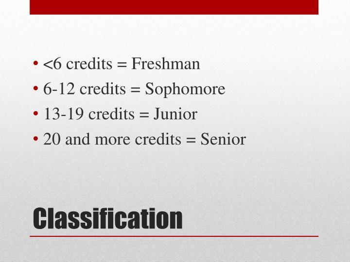 <6 credits = Freshman