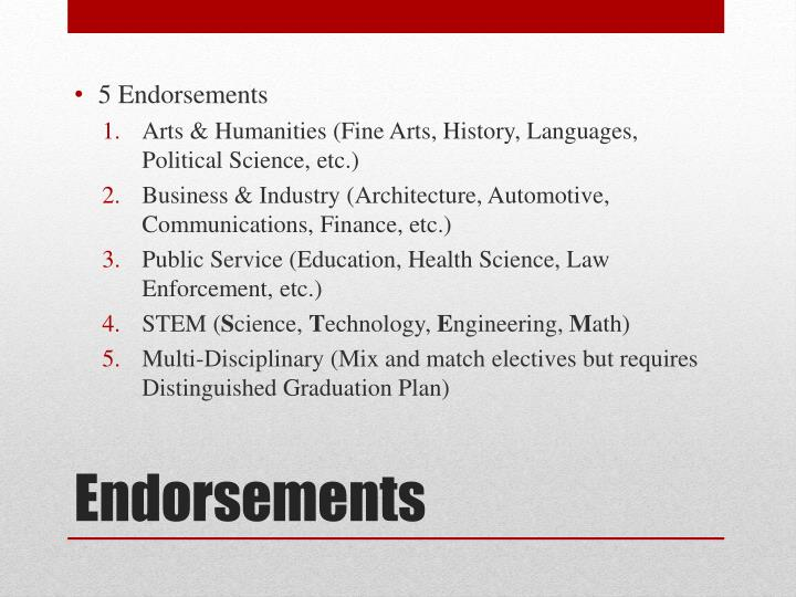 5 Endorsements