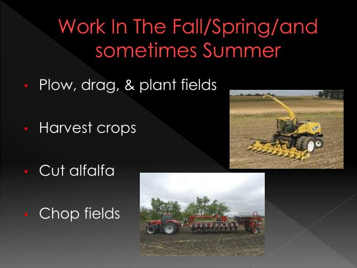 Work In The Fall/Spring/and sometimes Summer