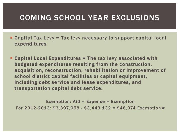 Coming school year exclusions