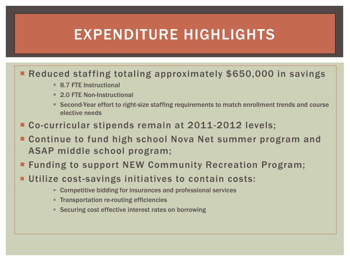 Expenditure Highlights