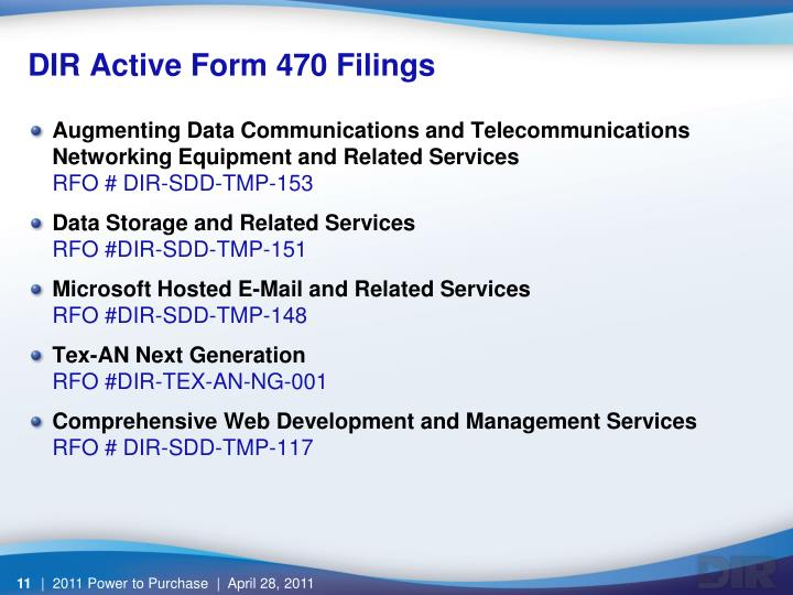 DIR Active Form 470 Filings