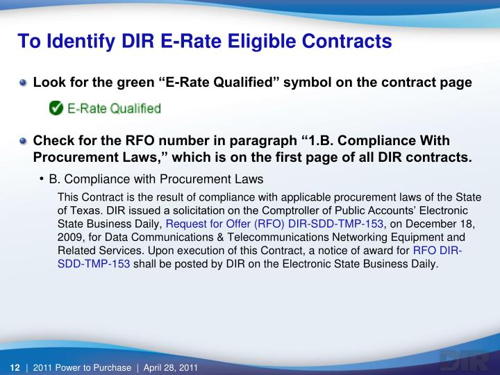 To Identify DIR E-Rate Eligible Contracts