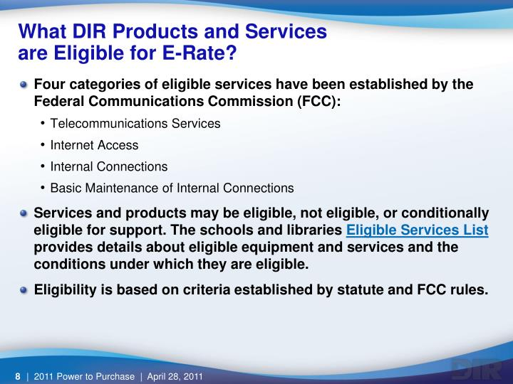 What DIR Products and Services