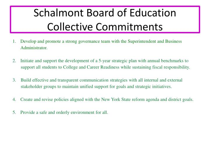 Schalmont Board of Education Collective Commitments