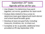 september 25 th tasks agenda will be set for you