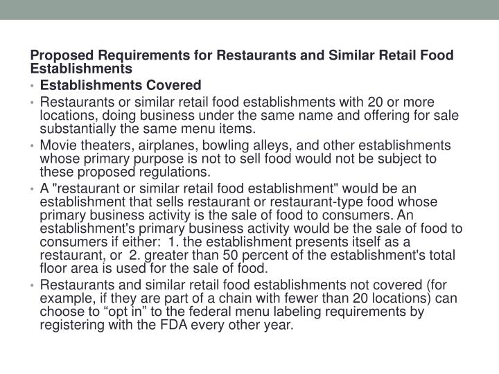 Proposed Requirements for Restaurants and Similar Retail Food Establishments