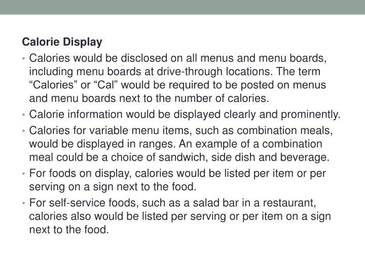 Calorie Display