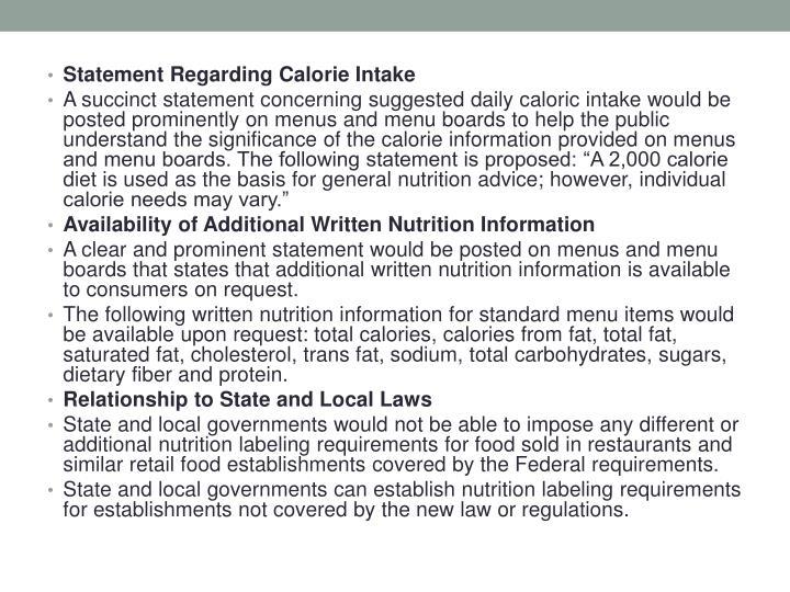 Statement Regarding Calorie Intake