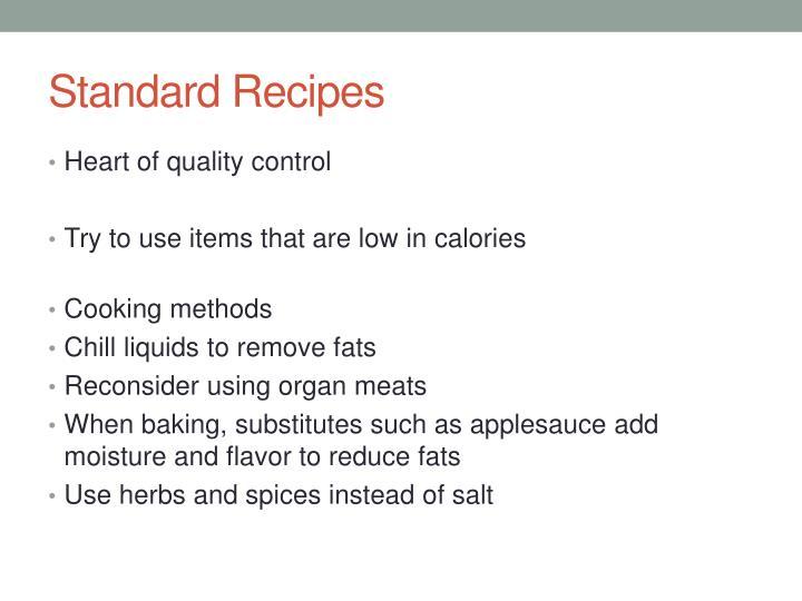 Standard Recipes