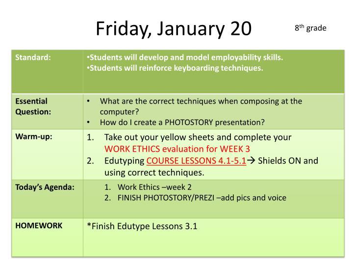 Friday, January 20