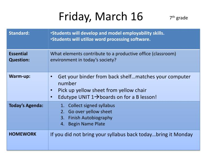 Friday, March 16