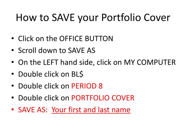 How to SAVE your Portfolio Cover