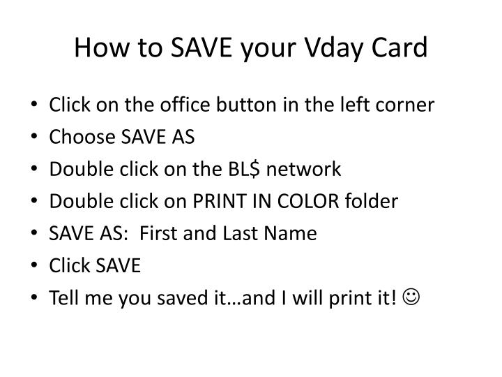 How to SAVE your