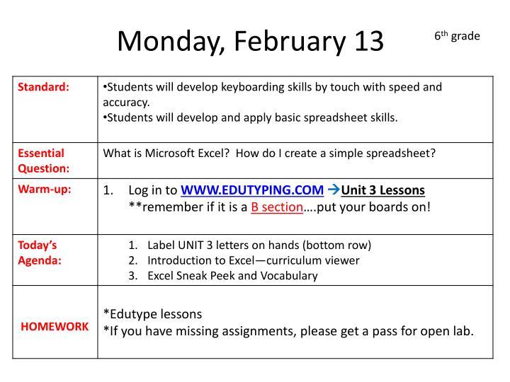Monday, February 13