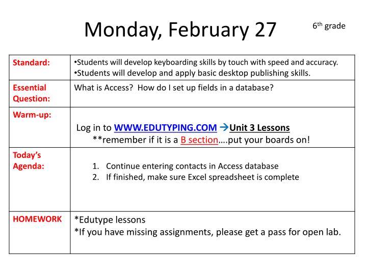 Monday, February 27