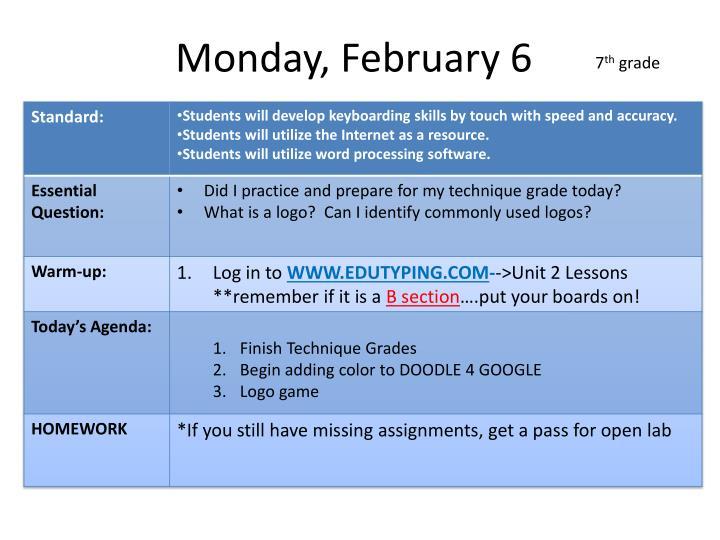 Monday, February 6