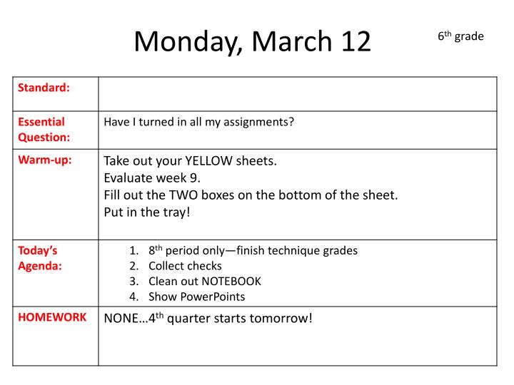 Monday, March 12