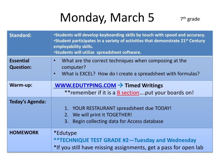 Monday, March 5
