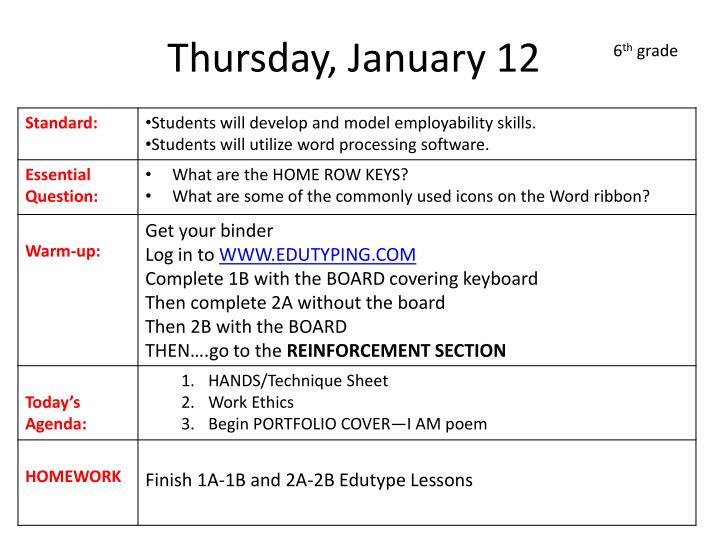 Thursday, January 12