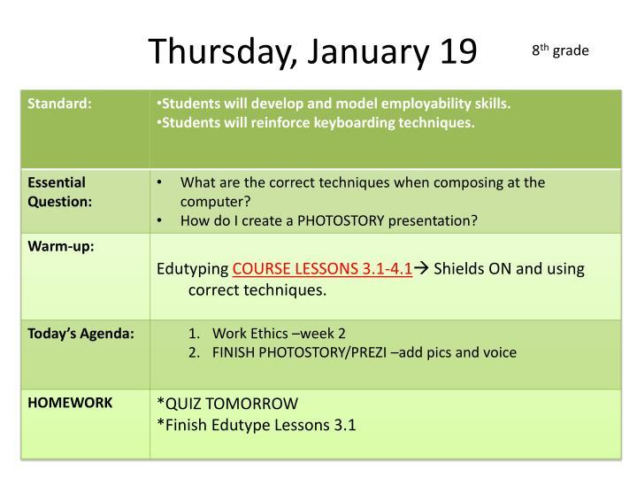 Thursday, January 19