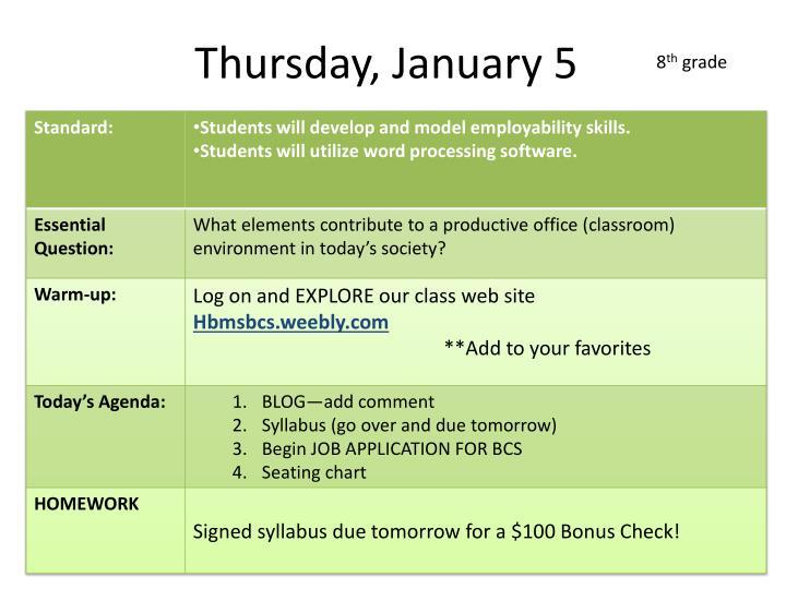 Thursday, January 5
