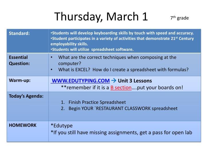 Thursday, March 1