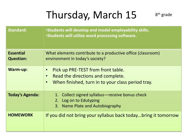 Thursday, March 15